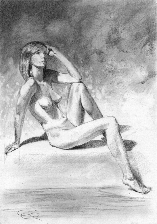 """Figure 46 - Graphite Drawing"", Leo Plaw, 21 x 30 cm, graphite pencil on paper"