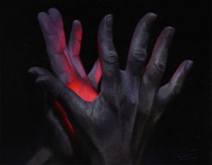 """""""Hands 39"""", Leo Plaw, 30 x 24cm, oil on canvas"""